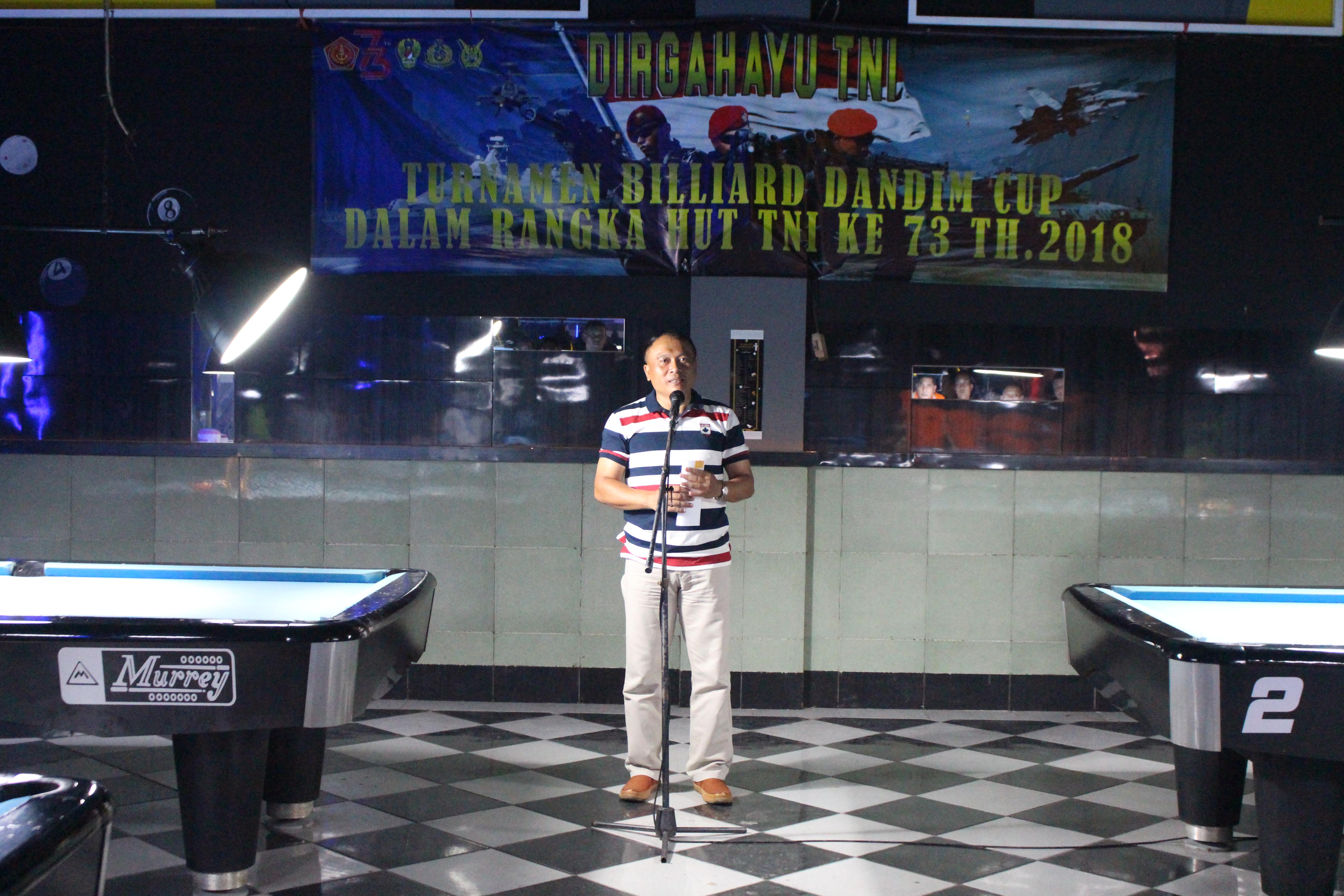Dandim 0711/Pemalang Membuka Turnamen Biliard Dandim Cup