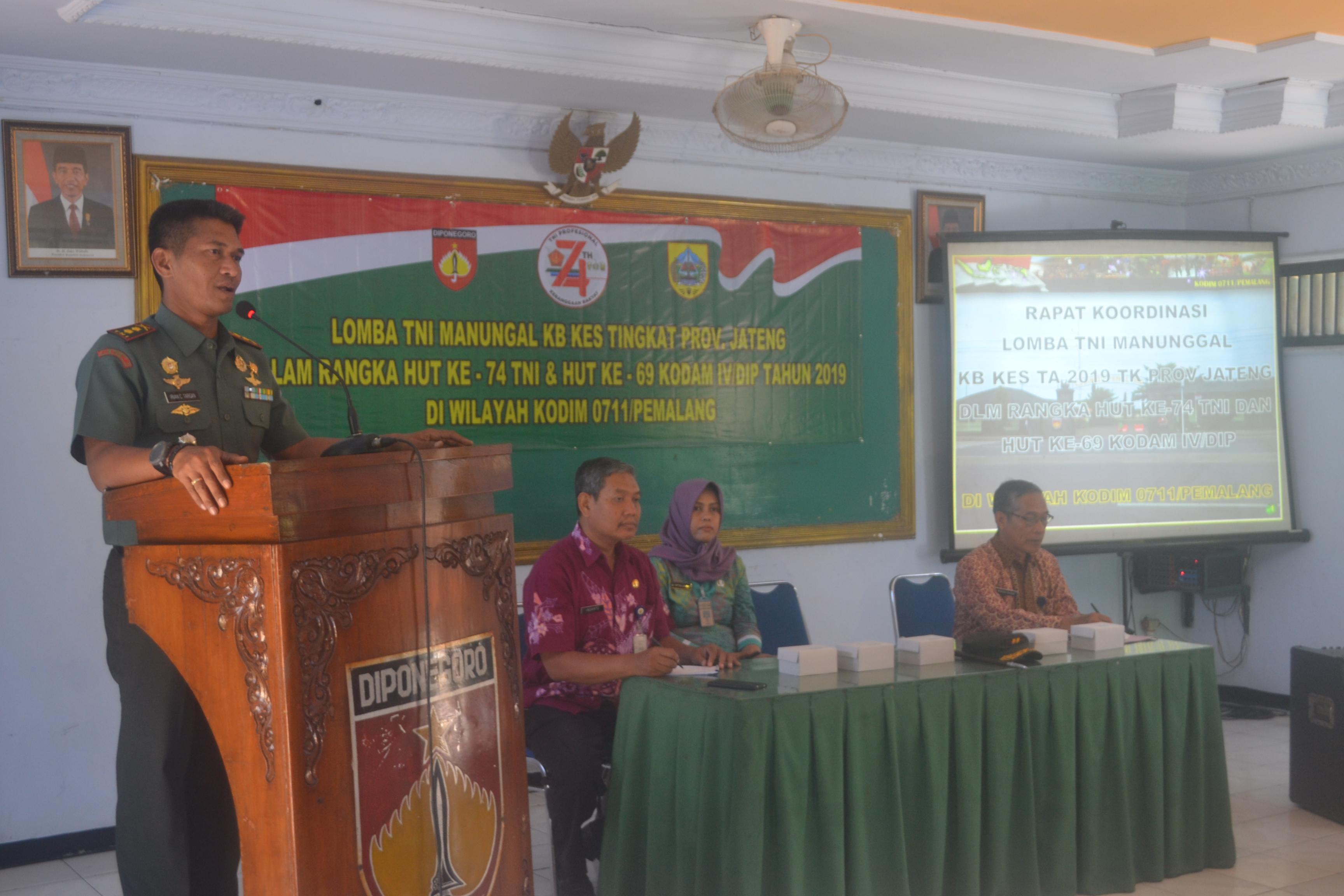 Kodim Pemalang Gelar Rapat Persiapan Lomba Tentara Manunggal KB dan Kesehatan (TMKK)