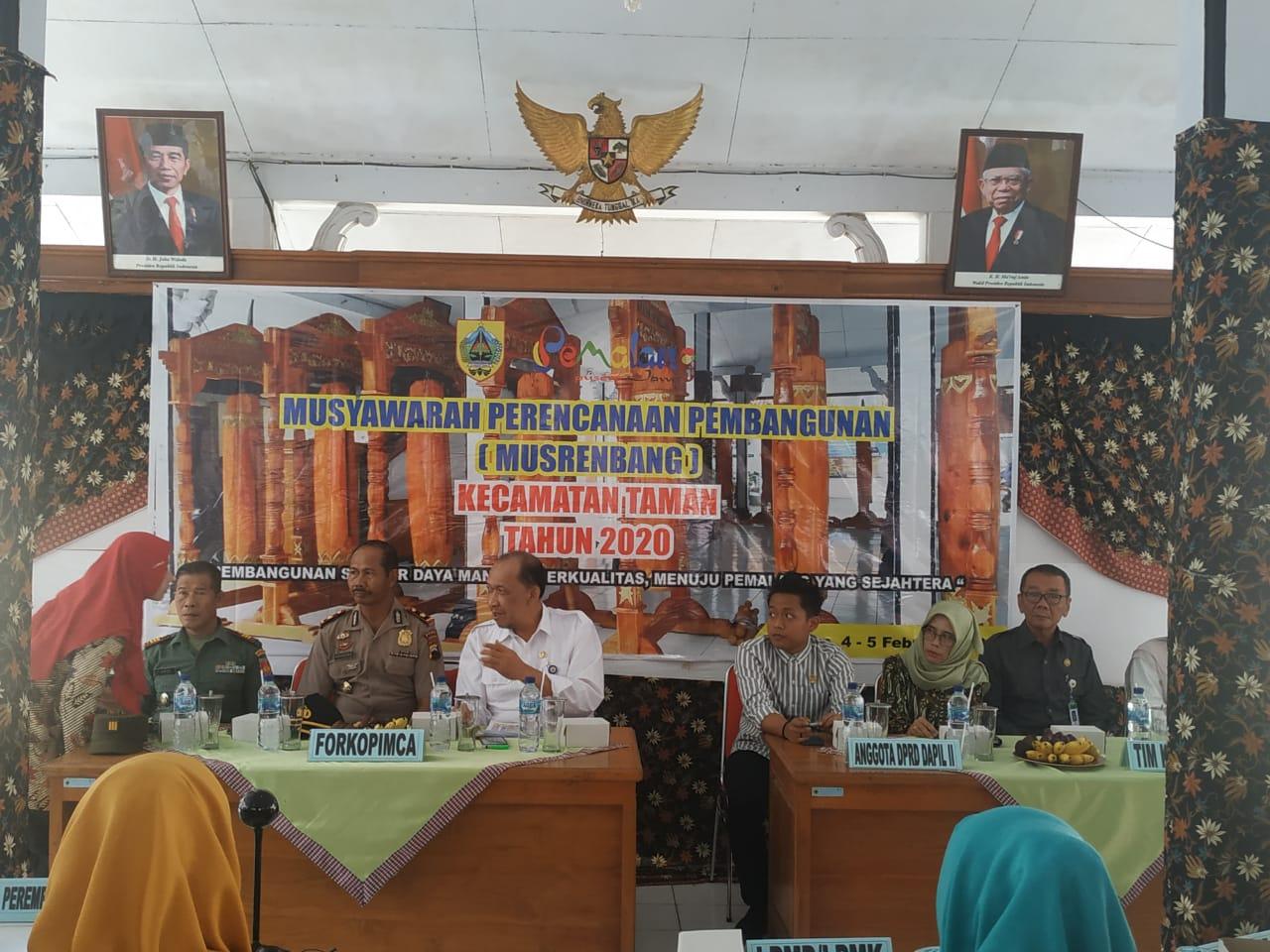 Danramil 02/Taman ikuti  Musyawarah Perencanaan Pembangunan ( Musrenbang ) Kec. Taman Tahun 2020.