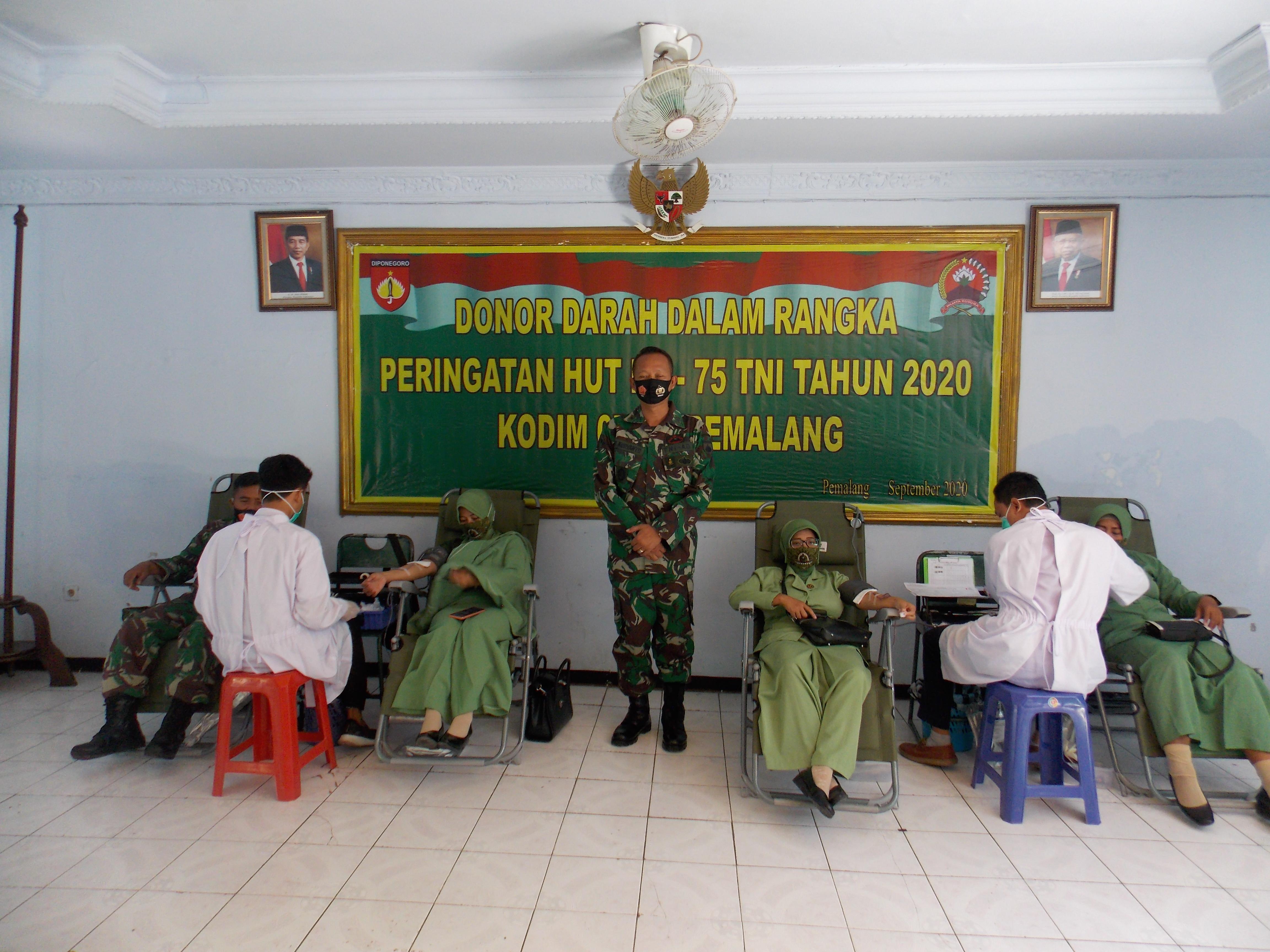 Sambut HUT TNI ke 75 Tahun 2020, Kodim Pemalang gelar Baksos Donor Darah