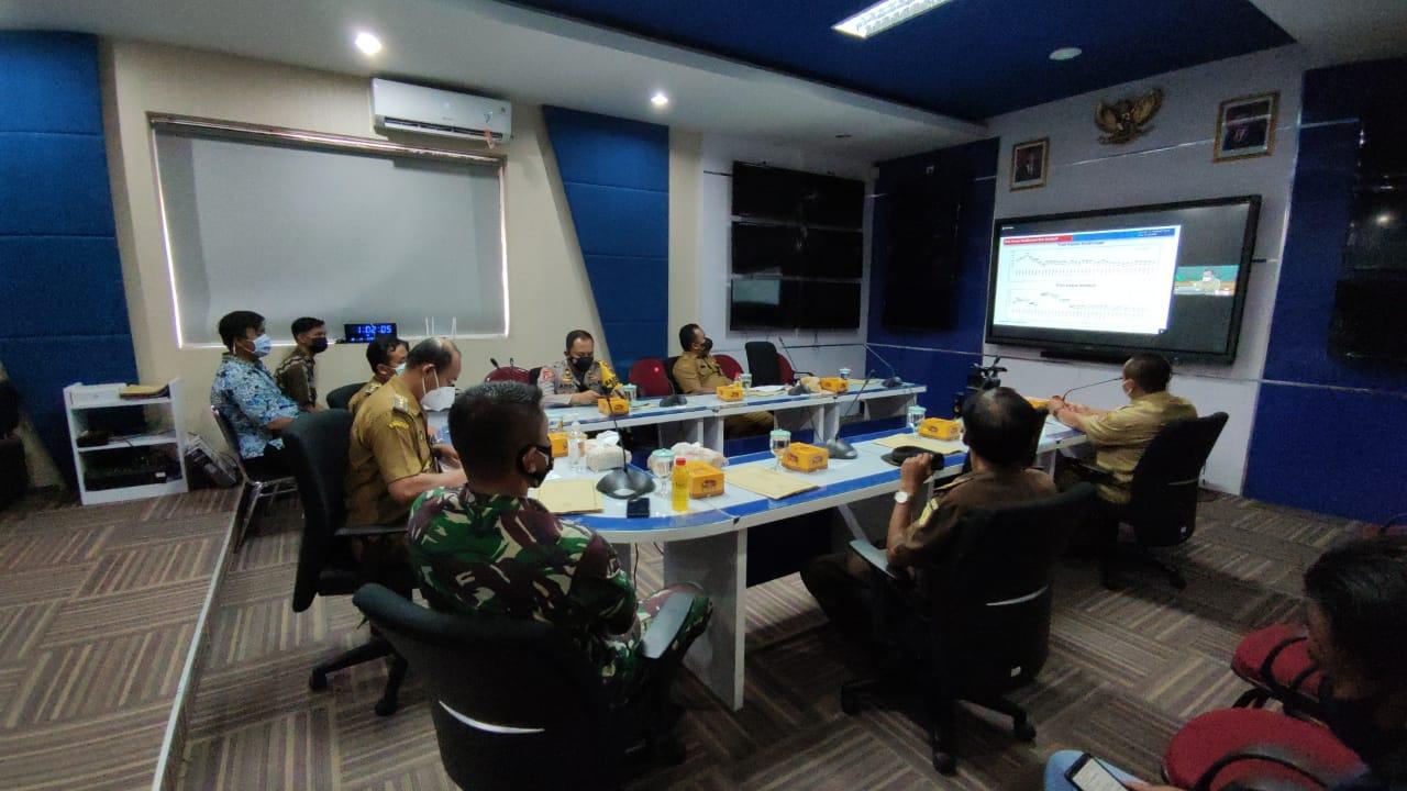 Dandim Pemalang Ikuti Rakor Penanganan Pandemi Covid-19 Tingkat Provinsi Jawa Tengah Secara Daring